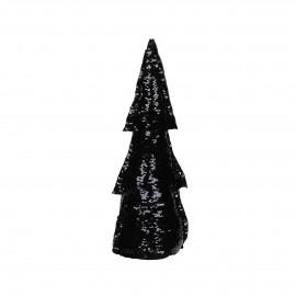 SEQUIN - deco boom - lovertjes - zwart/goud - M - h38 cm