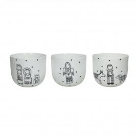 BETHLEHEM - 3 t-lights - porcelain - white - Ø9xh8 cm