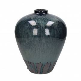 ATLANTIS - vaas - aardewerk - DIA 23,5 x H 28 cm - blauw