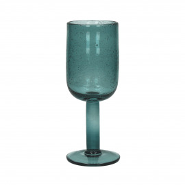 VICTORIA - wijnglas - glas - donker aqua -  7x18,5 cm