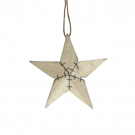 TYR - kersthanger ster - berk - L 15 x W 2 x H 15 cm - naturel