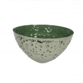 BAHAI - drijvend theelichthouder - metaal - groen - 12x6 cm