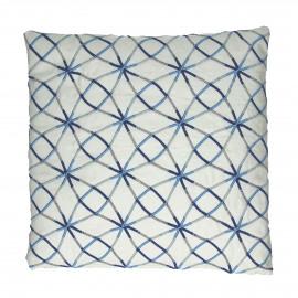 INDIGO - kussen cirkel/ster - katoen - wit/blauw - 45x45 cm