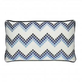 INDIGO - kussen zigzag - katoen - wit/blauw - 30x50 cm
