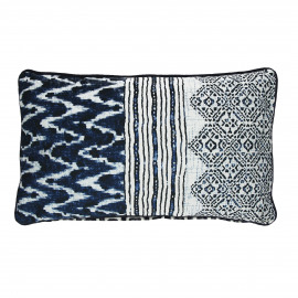INDIGO - kussen 3 print - katoen - blauw - 30x50 cm
