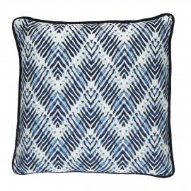 INDIGO - kussen zigzag II - katoen - blauw - 45x45 cm
