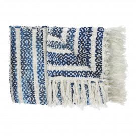 INDIGO - plaid strepen - katoen/acryl - wit/blauw - 130x170 cm