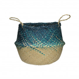 ZIGGY - basket - seagrass - natural/turquoise - Ø40xh48 cm