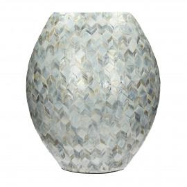 PEARL - vaas - parelmoer op geperst papier - lichtgrijs - L - 38x19xh44 cm