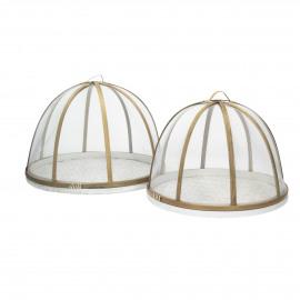 JARDIN - set/2 food covers - bamboo - white/natural - S:Ø30xh23  L:Ø34xh25 cm