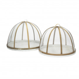 JARDIN - set/2 borden met afdekkap - bamboe - wit/naturel - S:Ø30xh23  L:Ø34xh25 cm