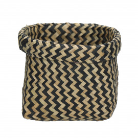 ZIGGY - mand - seagrass - zwart/naturel - Ø15xh14 cm
