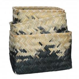 MITSOUKO - set/3 baskets - bamboo - natural/black - S:30x21xh19  M:35x35xh22  L:40x30xh25 cm