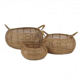 ROGER  - set/3 baskets - rattan - DIA 38/52/63 x H 25/32/37 cm
