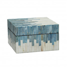 PEARL - doos - parelmoer/mdf - wit/blauw - 15x15xh9 cm