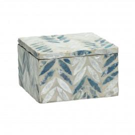 PEARL - box - nacre/mdf - white/blue - 13x13xh8 cm
