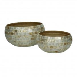 PEARL - set/2 bowls - bamboo/nacre - natural - S:Ø18xh9  L:Ø23xh12,5 cm