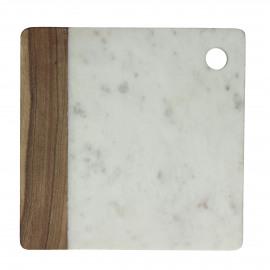 IDLI - kaasplank - marmer/acacia - wit/hout - 25x25 cm