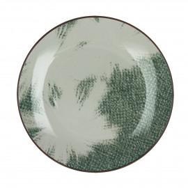 FEATHERS - dessert bord - porselein - groen - Ø22 cm