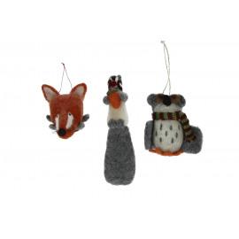 FORREST WOO - Gift box 3 kerstmis voor - wol - vos/uil/eekhoorn - H9 cm