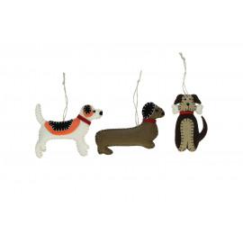 DOGGY  - Gift box 3 kersthangers - vilt - honden - H9 cm
