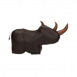 SIMON - deurstopper neushoorn – pluche en vilt stof- leder - bruin -  M