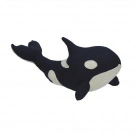 LÉON - deurstopper walvis - pluche en vilt stof - blauw