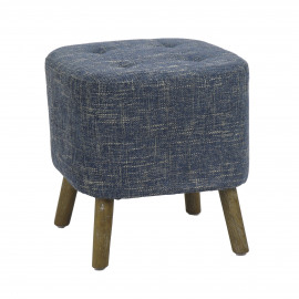 KENNEDY - stool - cotton - L 38 x W 38 x H 40 cm - Blue