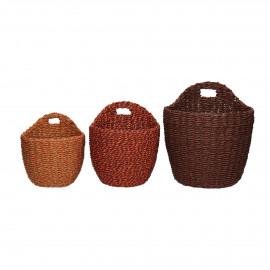 USHUAIA  - s/3 paniers - seagrass - DIA 14,5/16,5/20 x H 15,5/18,5/23 cm - bordeaux