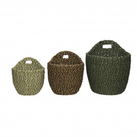 USHUAIA  - s/3 paniers - seagrass - DIA 14,5/16,5/20 x H 15,5/18,5/23 cm - vert