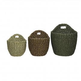 USHUAIA  - s/3 mandjes - seagrass - DIA 14,5/16,5/20 x H 15,5/18,5/23 cm - groen