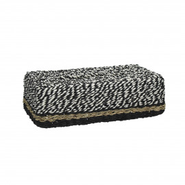 USHUAIA - tissue houder - zeegras/papier - zwart&wit - 27x15x9 cm