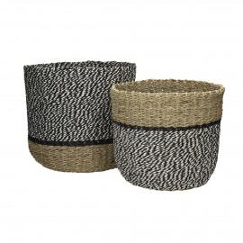 USHUAIA - s/2 paniers - jonc de mer/papier - blanc&noir - 32x28cm+28x25cm