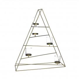 TRIANZ -  Triangle t-light holder - iron - copper/glass - 52x15x60 cm