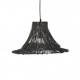 PAPOU - hanglamp - E27 - riet/ijzer - 55x55x35 cm