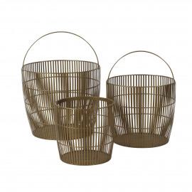 RIK - set/3 baskets - metal - DIA 28/35/42 x H 27/32/36 cm