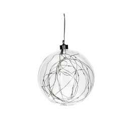 GLITTER - bulb with lightchain - glass - DIA 12 cm - clear