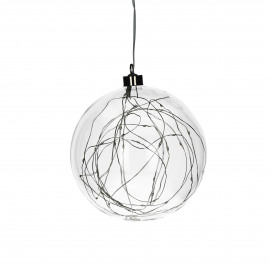 GLITTER - bulb with lightchain - glass - DIA 15 cm - clear