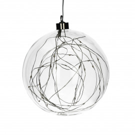 GLITTER - bulb with lightchain - glass - DIA 20 cm - clear