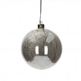 GLITTER - boule avec guirlande - verre - DIA 15 cm - Smoke