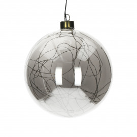 GLITTER - boule avec guirlande - verre - DIA 20 cm - Smoke