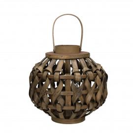 VAGUR  - lanterne - bois de mangier - L 31 x H 33 cm - brun clair