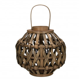 VAGUR  - lantern - mango wood - L 36 x H 34 cm - light brown