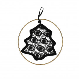 LACEY - tree with golden ring - lace - black - Ø15 cm