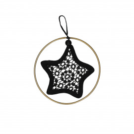 LACEY - star with golden ring - lace - black - 9,5 cm