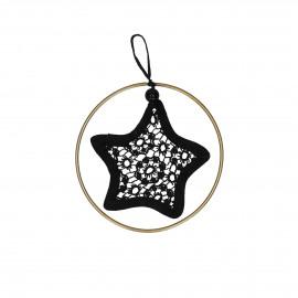 LACEY - ster met gouden ring - katoen - DIA 9,5 cm - zwart