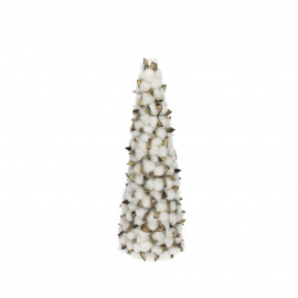 WHITE X-MAS - kerstboom - katoenbloemen - wit - S - Ø13xh45 cm
