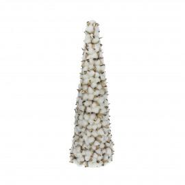 WHITE X-MAS - kerstboom - katoenbloemen - wit - M - Ø20xh68 cm