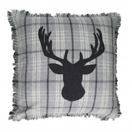 FLANEL - cushion - lined brown/grey - coton/acylic - Ø60 x 60 cm