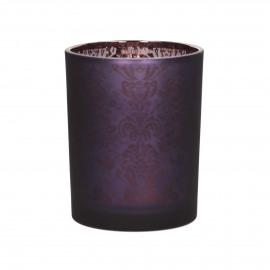 TIGUE - photophore - verre  - violet - M - Ø10x12,5 cm